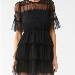 Black shear tiered lace ruffle dress